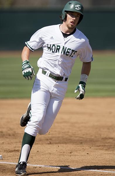 Hornet junior left fielder No. 35, Justin Higley, rounds the bases after hitting his ninth home run of the season, a two-run shot, against Louisiana Tech on Friday afternoon at John Smith Field.