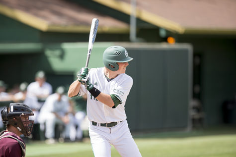 Hornet redshirt freshman No. 6, Chris Lewis, stands in against Texas State on Saturday at John Smith Field. Lewis went 4-4 on the day, raising his season batting average to .339.