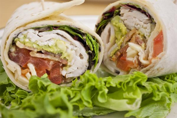 The dining commons attempts to promote healthier eating by offering healthier foods like the turkey wrap.