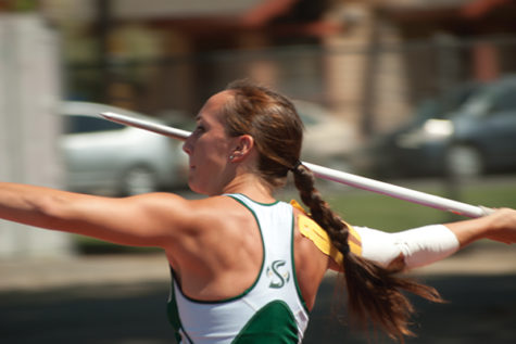 Zarria McKearny throws javelin at causeway classic track meet.