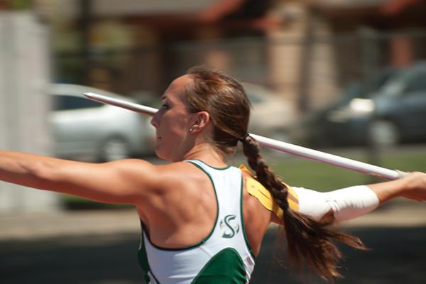 Zarria McKearny throws javelin at causeway classic track meet.