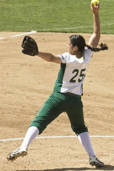 Hornet sophomore pitcher No. 25 Caitlin Brooks pitches to Weber State on Saturday at Shea Stadium. She finished pitching a complete game while only giving up two hits and striking out 11 batters.