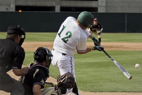 Hornet sophomore first baseman No. 12 Rhys Hoskins hits the ball against Texas State today at John Smith Field.