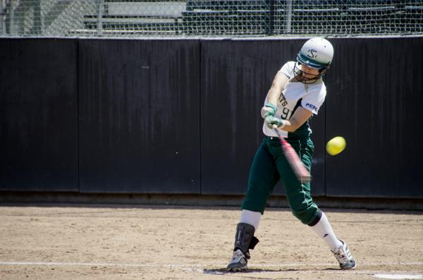 Hornet freshman catcher No. 9 Kortney Solis hits a foul ball in the first inning against Idaho State at Shea Stadium.