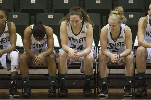 Hornet senior forward No. 24, Kylie Kuhns, finished her career at Sac State with 1,504 points and 1,234 rebounds.