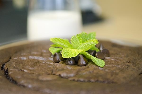 Top off this chocolate garbanzo cake with chocolate chips and mint leaves or your favorite frosting.