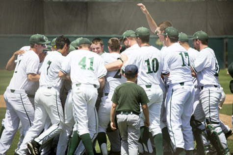 Hornet players celebrate their walk off win against San Jose State Sunday at John Smith Field.