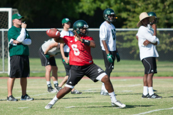 Sacramento state incoming freshman quarterback, No. 6, Jihad Vercher makes a pass during practice on Sunday at Hornet Stadium.