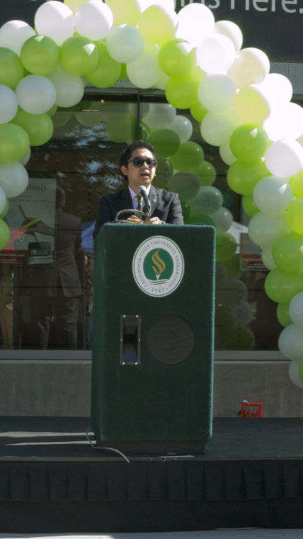 ASI President Nielsen Gabriel gives the State of the Student speech Thursday at The Bookstore.