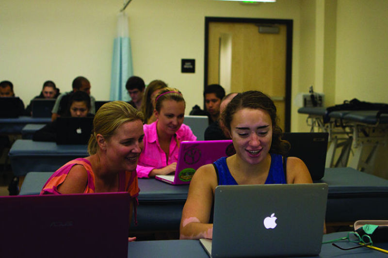 Nursing students prepare for class in Folsom Hall. Physical Therapy moved to the center this fall and will be soon joined by Speech Pathology.