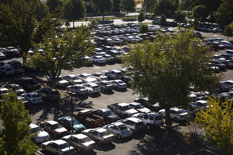 Hundreds of cars  fill up in Lot 8 Monday morning.