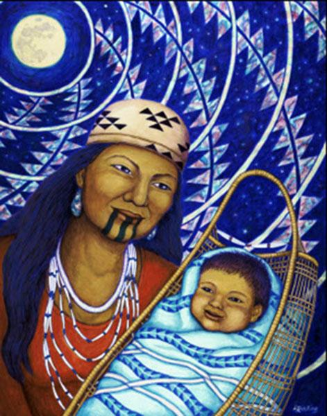 """This painting, titled """"Taat karu Yupsiitanach"""" (Mother and Baby), represents the sacredness of children."""