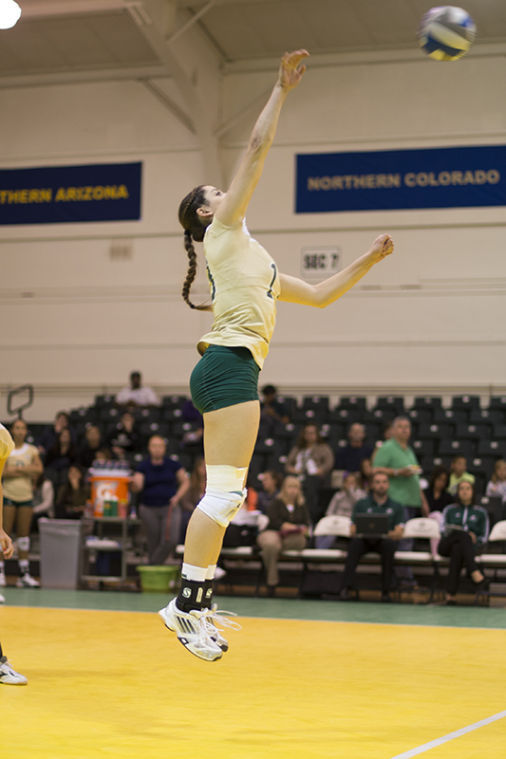 Senior opposite hitter No. 13 Kayla Beal plays against the Idaho State Bengals on Friday at the Nest.