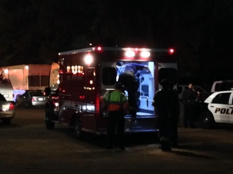 An unidentified man was taken to a local hospital after being involved in a fight that broke out in the student section.