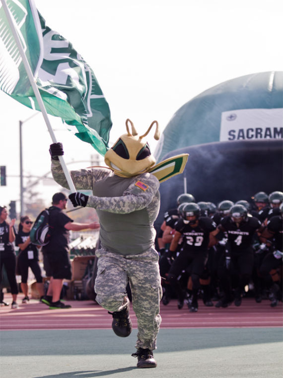 Sacramento State mascot Herky leads the Sacramento State Hornets to face off against the 3-2 Montana University Grizzlies on Saturday at Hornet Stadium.