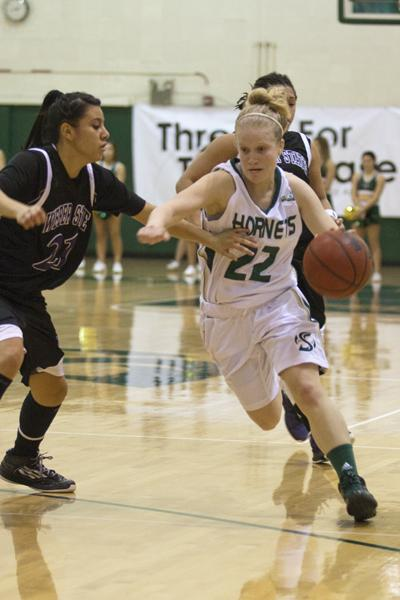 No. 22 Alle Moreno drives to the basket during a game inside The Nest.