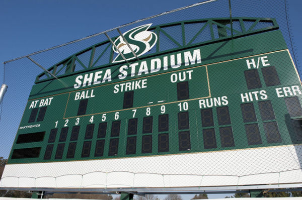 The new scoreboard is up in Shea Stadium just in time for softball season.