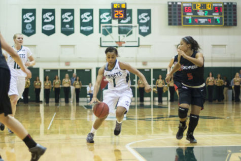 Junior point guard No. 1 Fantasia Hilliard drives to the basket at The Nest earlier in the season against Cal State Northridge.