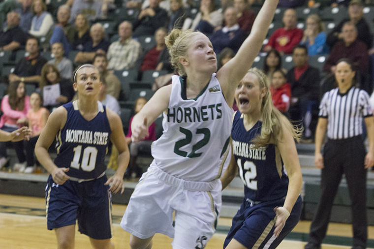 Senior guard Alle Moreno drives to the hoop against Montana State at The Nest.