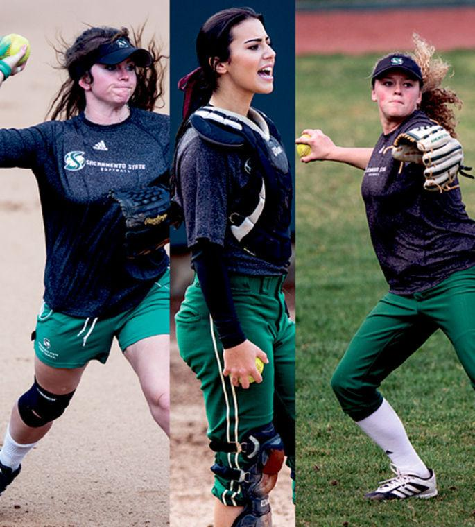From left to right, Taylor Stroud, Paris Prado and Alexa Chattleton are softball's team captains.