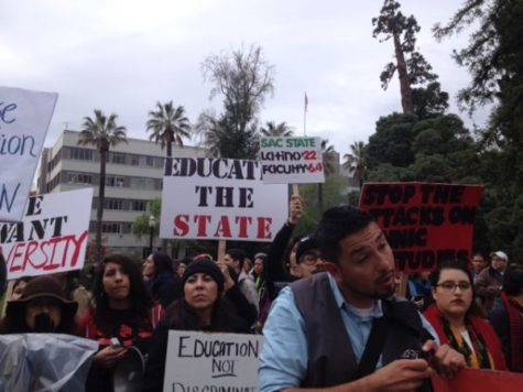 Students gathered in front of the Capitol demanding changes to higher education during the annual March in March.