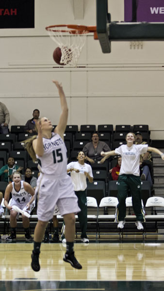 Senior forward Sadie Clements hits the game-winning shot to clinch a Big Sky Tournament berth Saturday afternoon in The Nest.