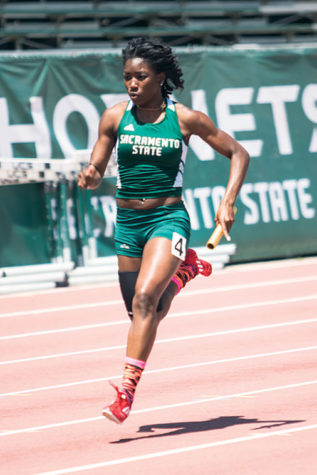 Dominique Whittington competes at an event held at Sac State in 2013.