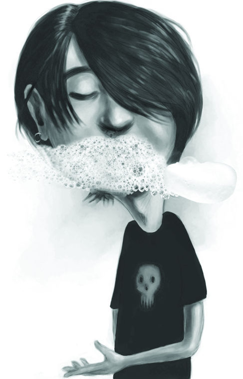 300 dpi Charles Waltmire color illustration of teen in black T-shirt with soap bubbles in mouth (washing mouth out with soap.) The Sacramento Bee 2008teen profanity illustration soap soapy washing mouth out with teenager black teeshirt skull clean language swear curse cussing cuss foul mouthed manners etiquette kids adolescent 08000000, HUM, krtfeatures features, krthumaninterest human interest, 08003001, advice, ODD, PEO, people, krtdiversity diversity, youth, 14019000, juvenile delinquency juvenile delinquent, krtsocialissue social issue, SOI, 2008, krt2008, krtnational national, krtworld world, krt, mctillustration, sa contributed coddington waltmire mct mct2008