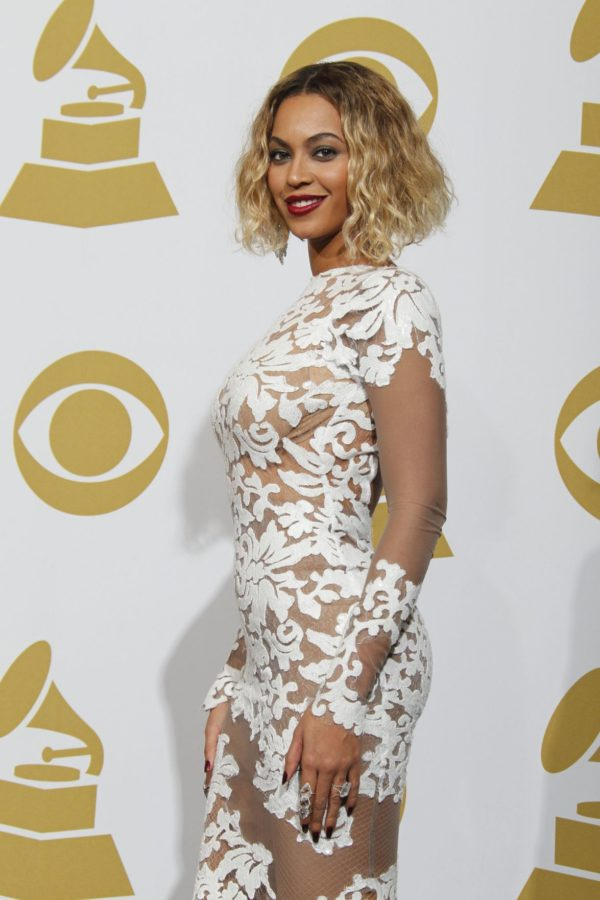 Beyonce poses backstage during the 56th Annual Grammy Awards at Staples Center in Los Angeles on Sunday, Jan. 26, 2014.