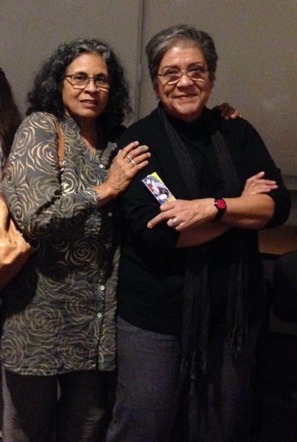 Ester Hernandez and Judithe Hernandez at the Chicana Art show.