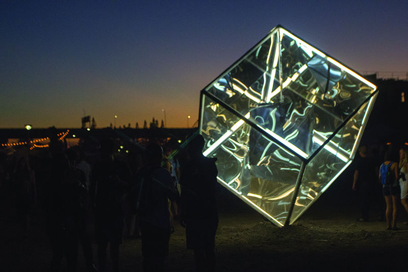 An illuminated cube made of Plexiglas and steel gave festival goers an admirable piece of art and meet-up spot, given it was in the festival's epicenter.