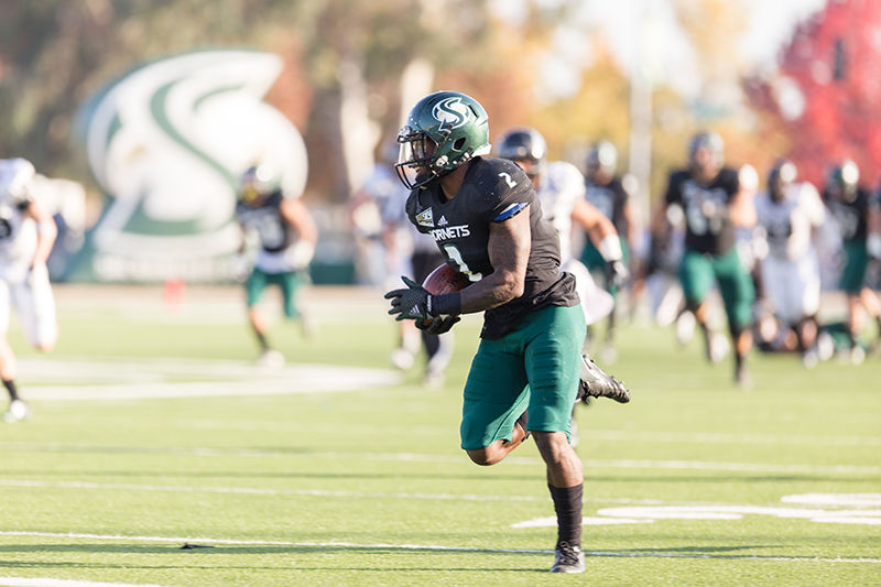 DeAndre Carter scores against Portland State University on Saturday, Nov. 15, 2015 at Hornet Stadium. Carter had eight receptions and 134 yards in a 48-41 win.