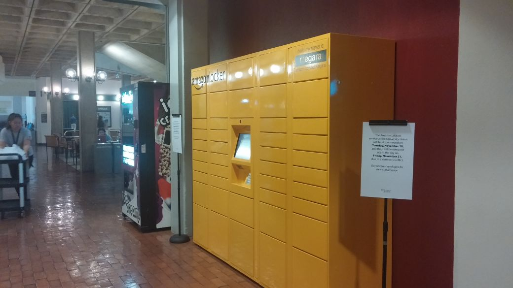 The locker was installed in the University Union, outside the Game Room, after the start of the fall 2014 semester.