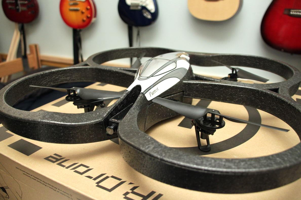 This AR. Drone has two cameras, sensors, and a small embedded Linux system on board. This particular model cost around $300, but other models can be purchased for as cheap as $100.