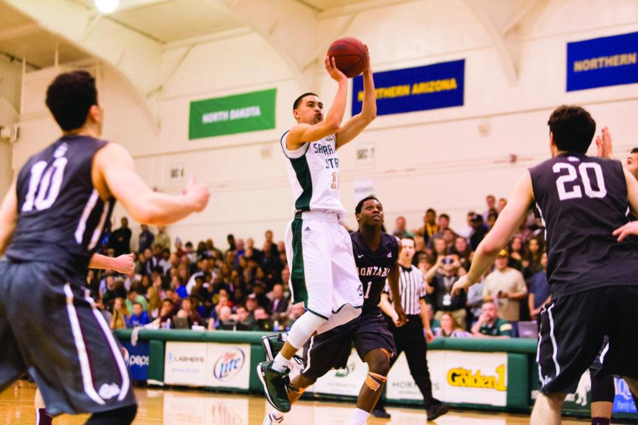 Senior Mikh McKinney makes a two point shot to cut Montana's lead to 64-61 during the basketball game against Montana on Saturday, Jan. 31, 2015. The game ended with a score of 70-69, with Sacramento State as the winner. This was the team's sixth win in a row.