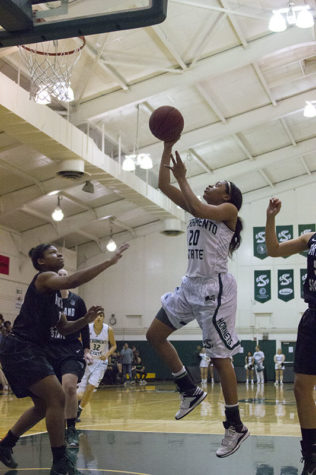 Adella Randle-El of Sacramento State women's basketball goes up for a layup against Portland State on Saturday, Feb. 28, 2015 at The Hornet's Nest. Randle-El led the team in points with 23 as the Hornets went on to beat the Vikings 123-77, setting a season-high record.