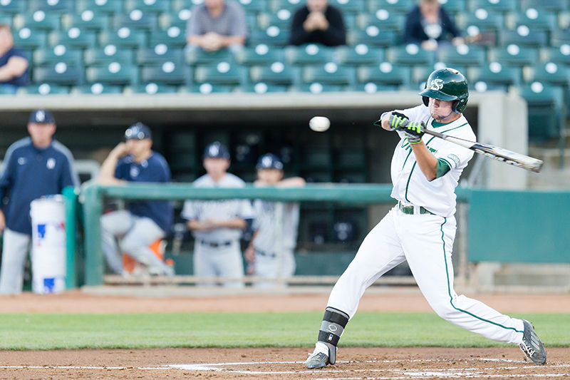 Sacramento State junior Nathan Lukes hits a pop fly foul ball during the baseball game against Nevada Univeristy on Tuesday, March 17, 2015 at Raley Field in Sacramento, California. The Hornets lost the game 6-2.