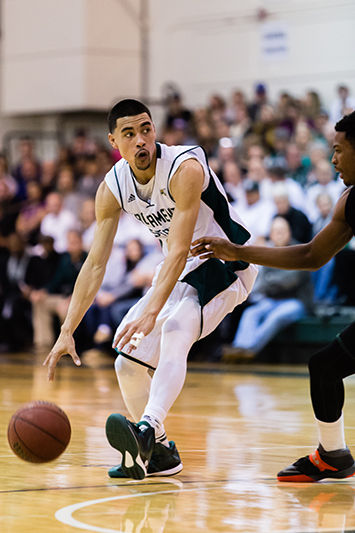 Senior guard Mikh McKinney looks for a pass during the first half of the Sacramento State Hornets basketball game against the Portland State Vikings on Saturday, Feb. 7, 2015 at 2 p.m. McKinney scored 17 points during the game on Saturday. The guard was named the Big Sky Conference's MVP on March 9, 2015.