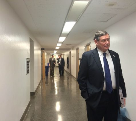 California State University Chancellor Timothy White walks down the halls of the state capitol on Advocacy Day March 2, 2015. Student representatives from all 23 CSU campuses had designated times to meet with different senators to lobby for additional CSU funding and issues pertaining to their campus.