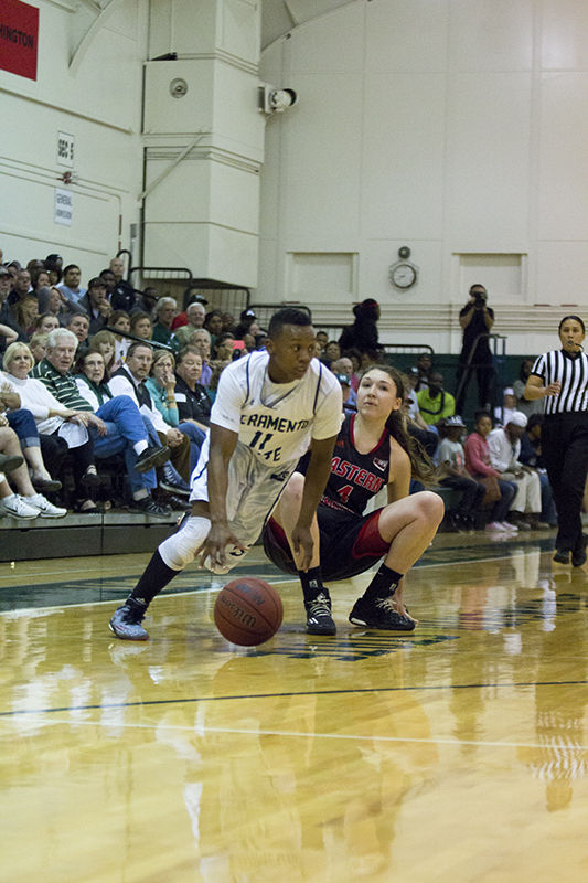Takara Burse steals the ball from Delaney Hodgins of Eastern Washington on Monday, March 23, 2015 at the Hornets Nest. Burse had five steals in the contest.