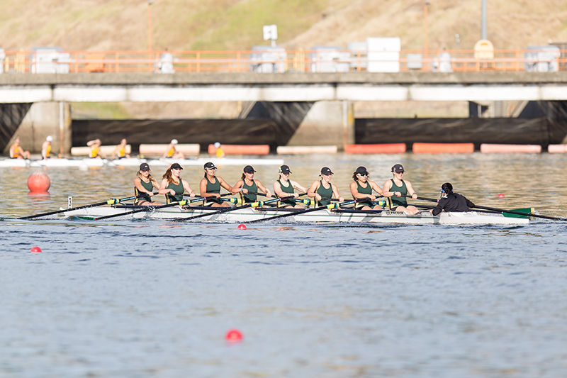 During the II Eight event in the morning, Sacramento State's rowing team reaches the finish line at the Lake Natoma Invitational at the Sacramento State Aquatic Center in Gold River, Calif. on Saturday, April 11, 2015. Sacramento State finished last during this event in the morning with a time of 6:53.6 on the first day of the Invitational.