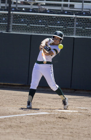 Sacramento State Hornets' junior Sasha Margulies tips a foul ball off of her bat against the Idaho State University Bengals on Friday, April 17, 2015 at Shea Stadium. The Hornets lost 7-0 in extra innings and the Bengals swept the Hornets in a three-game series, which decided the Big Sky Conference leader. Coming into the series, Idaho State and Sac State shared the same conference record and first place.