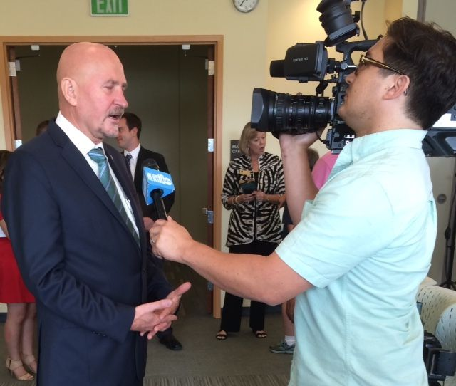 President Robert Nelsen speaks to a reporter at his first press conference with Sacramento State on July 1, 2015. Nelson said tuesday that a scholarship fund is being set up by the university for Anthony Sadler's tuition.
