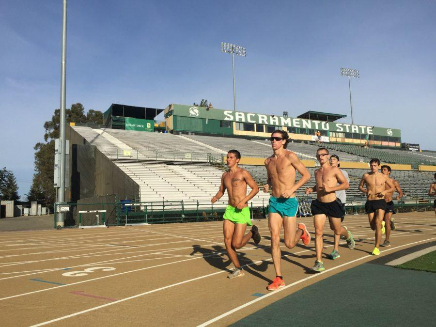 Sacramento State's men's cross country team takes a lap at the end of their practice on Friday, Aug. 28, 2015 at Hornet Stadium.