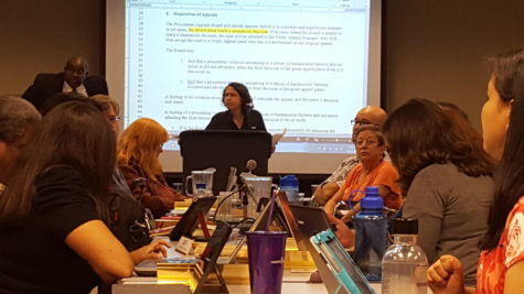 Sue Escobar, pictured at center, arofessor in the Criminal Justice Division and Chair of the Academic Policies Committee presided over a question and answer session about the grade appeal process at the Thursday, September 17 Faculty Senate meeting.