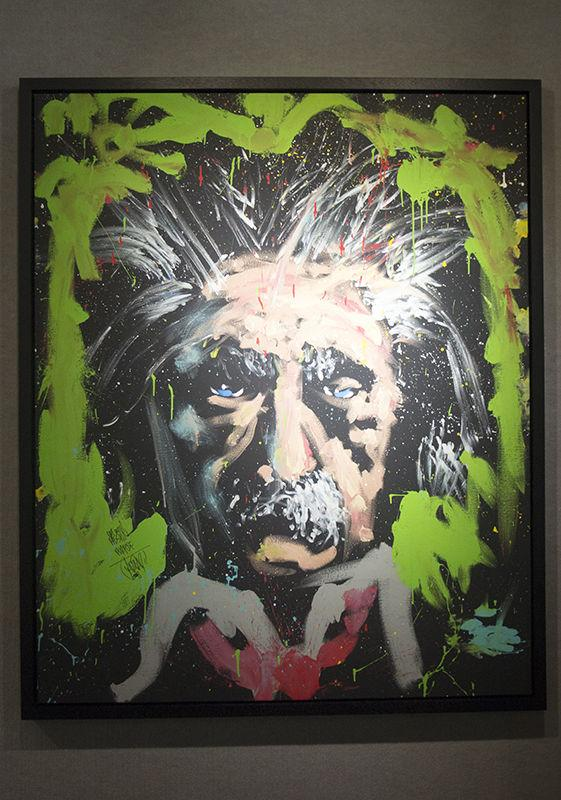 """Einstein/Rhythm and Hue"" painted by artist David Garibaldi is featured in the Treasure Revealed Art Gallery located on the second floor of the University Union."