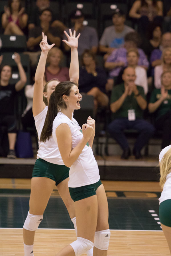 Madeline Cannon celebrates after winning the set against Northern Colorado on Thursday, Oct. 15, 2015 at the Hornets' Nest.