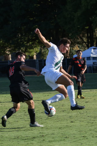 Sacramento State midfielder Elias Rieland leaps up to steal the ball from University of the Pacific forward Tyson Fox on Friday, Sept. 18, 2015 at Hornet Field.