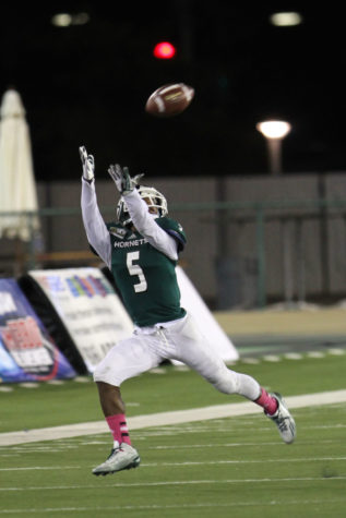 Sacramento State wide receiver Isiah Hennie extends to catch the ball against the University of Northern Colorado. Hennie lead the team with nine receptions and 95 receiving yards in a 27-20 loss to the Lumberjacks on Saturday Oct. 3, 2015, at Hornet Stadium.
