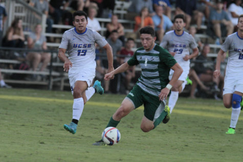 Sacramento State midfielder Ivan Ramirez takes the ball right before making a goal against UC Santa Barbra on Wednesday, Oct. 14, 2015 at Hornet Field. The Hornets defeated the Gauchos 5-2.